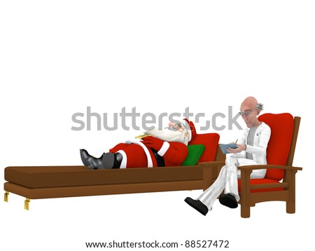 Santa at the Psychologist.  Santa getting some stress relief.  Isolated on a white background - stock photo