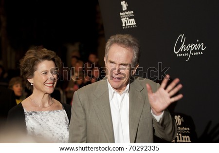 SANTA BARBARA, CA - JAN 28: Academy Award nominee Annette Bening with husband Warren Beatty at the America Riviera Award during the 26th Santa Barbara Int'l Film Festival on Jan 28, 2011 in Santa Barbara, CA.