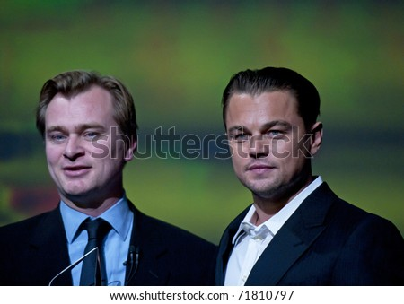 SANTA BARBARA, CA - JAN 30: Inception and Batman director, Christophr Nolan, poses with Leo Di Caprio, at the 26th Santa Barbara Int'l Film Festival on Jan 28, 2011 in Santa Barbara, CA.