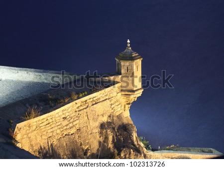 Santa Barbara Castle at night. Alicante, Spain