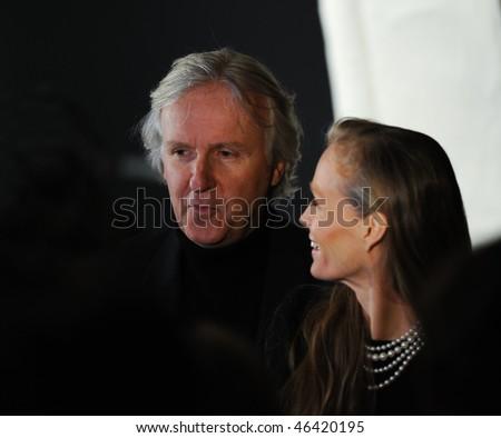SANTA BARBRA, CA - FEB 6: Avatar director James Cameron and his wife, Suzy Amis, receives the Lucky Brand Modern Master award at the Santa Barbara Film Festival, Feb 6, 2010 in Santa Barbara, CA. - stock photo