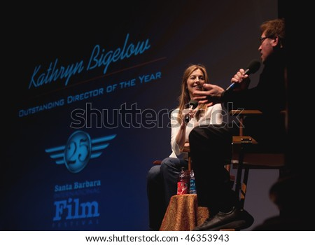SANTA BARBRA, CA - FEB 8: Oscar winner Kathryn Bigelow speaks at the Lobero theatre at Santa Barbara International Film Festival, Feb 8, 2010 in Santa Barbara, CA.