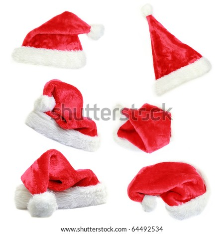 Santa cap collection isolated on white background
