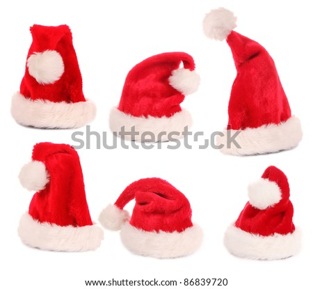 Santa caps collection, various poses.Isolated on white background
