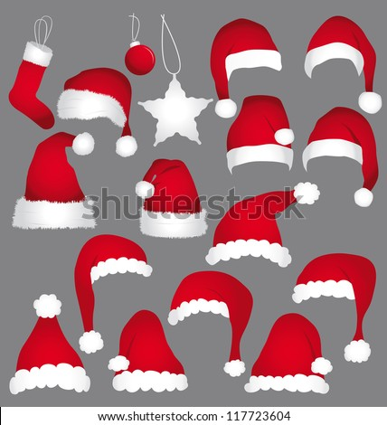 Santa caps isolated on grey background. Holidays icons collection.