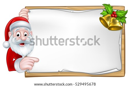 Santa cartoon Christmas character peeking around a wooden scroll sign with gold bells and holly