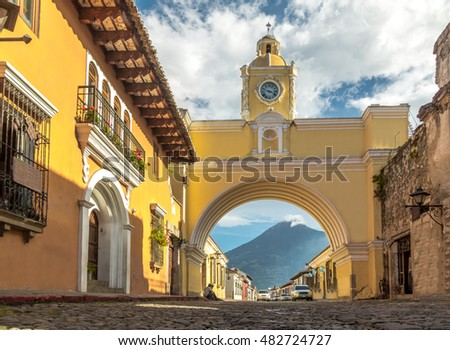 stock photo santa catalina arch ans agua volcano antigua guatemala 482724727 - Каталог — Фотообои «Балконы, арки»