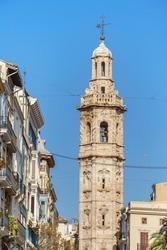 Santa Catalina church bell tower. Baroque style. Valencia, Spain