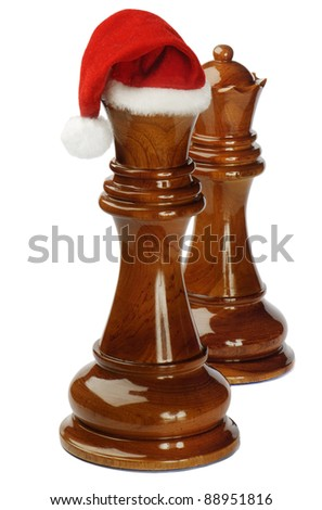 Santa chess isolated on white background