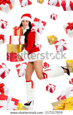 santa christmas girl go side run carry new year gift box presents fall fly around, excited woman smile, full length portrait