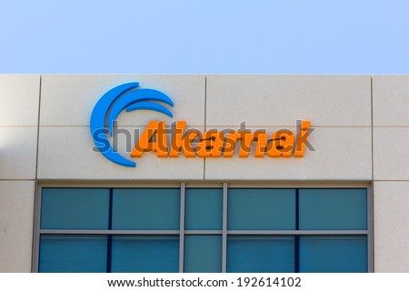 SANTA CLARA,CA/USA - MAY 11, 2014: Akamai building in Silicon Valley. Akamai is an Internet content delivery network and a distributed-computing platform.