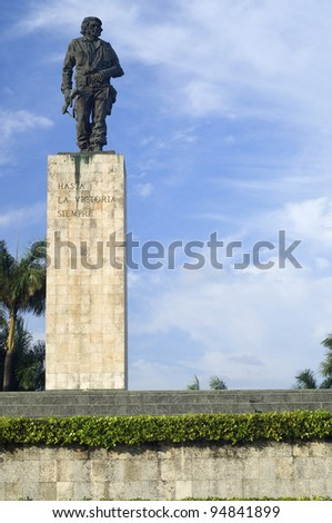 Santa Clara, Cuba - February 3, 2007: Che Guevara bronze statue in Revolution  Square. Che participated in the Cuban revolution and the organization of the Cuban state  and died in Bolivia in 1967.