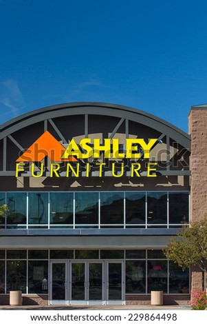 SANTA CLARITA, CA/USA - NOVEMBER 8, 2014:  Ashley Furniture store exterior. Ashley Furniture is a furniture company that manufactures and distributes home furniture products throughout the world.