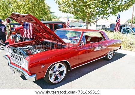 Santa Clarita California Oct 8 2017 Classic Chevy Malibu Parked
