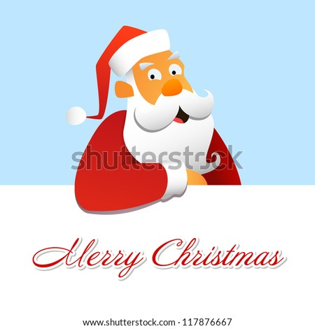 Santa Claus above a white background