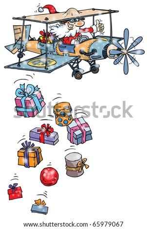 Santa Claus airplane on white background.