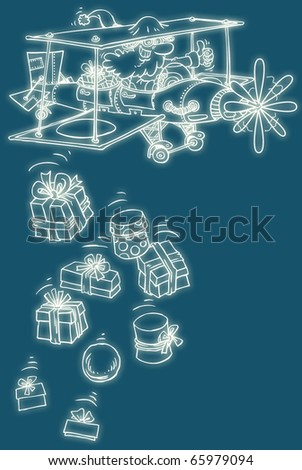 Santa Claus airplane with neon effect. - stock photo