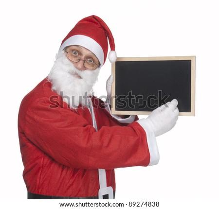 santa claus and a little blackboard