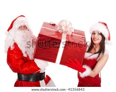 Santa claus and christmas girl with big gift box. Isolated.