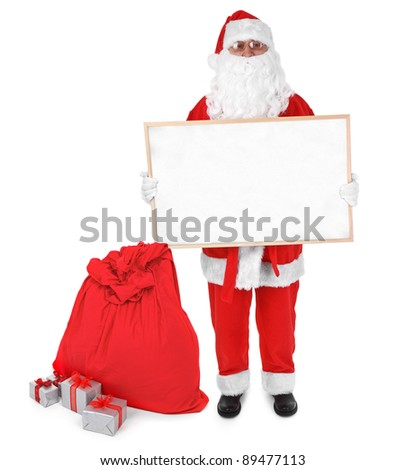 Santa claus and empty board on white background
