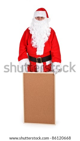 Santa claus and empty bulletin board on white background