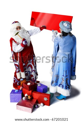 Santa Claus and his helper to placed a ad of holiday.