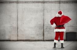 santa claus and wall