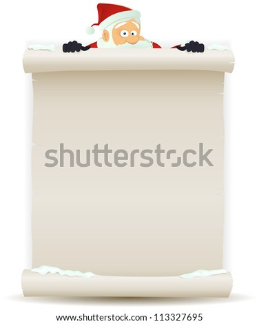 Santa Claus Background/ Illustration of a cartoon Santa claus character pointing white parchment sign for christmas holidays and children gift list