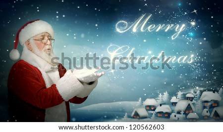 Santa Claus blowing ??Merry Christmas from snow to little town