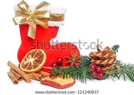 Santa Claus Boot with golden ribbon and christmas decoration / Santa Claus Boot