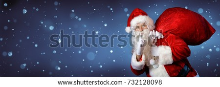 Santa Claus Carrying Bag In Night
