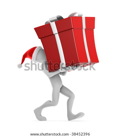 Santa Claus Carrying big red gift.Clipping path included.