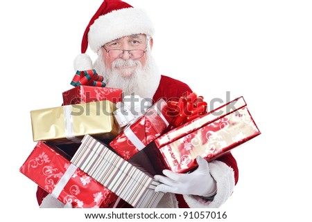 Santa Claus carrying big stack of Christmas present, isolated on white background - stock photo