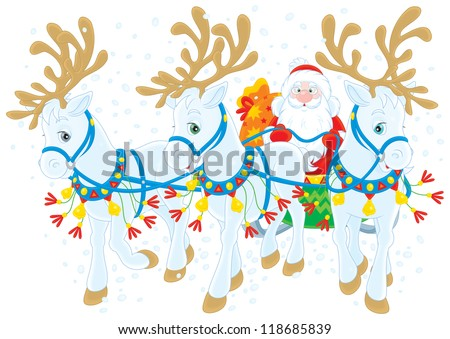 Santa Claus carrying Christmas gifts in his sleigh pulled by three white reindeers, on a white background