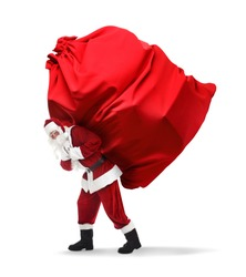 Santa Claus carrying enormous red bag full of Christmas gifts on white background