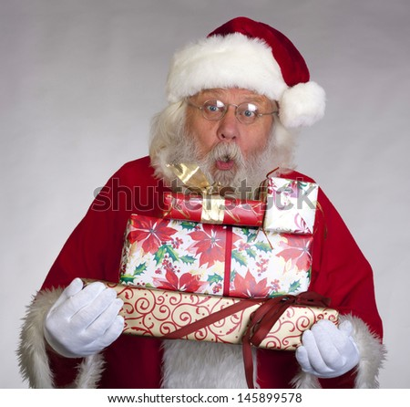 Santa Claus - Christmas figure of Santa Claus (real beard and hair) with gifts and boxes
