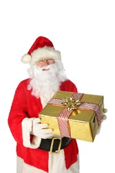 Santa Claus Christmas. Santa holds a Gold wrapped Christmas Present. Isolated on white. Room for text. Christmas is the season for giving and receiving gifts from family and friends. Merry Christmas.
