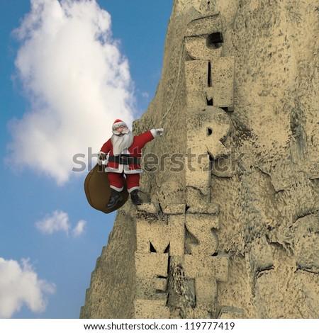 Santa Claus climbing a mountain with Merry Christmas written - stock photo