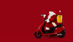 Santa claus courier in a protective mask and gloves is quickly carrying an order on a red retro motorcycle with a yellow thermo backpack. Safe food delivery. Shows to the left side. Banner
