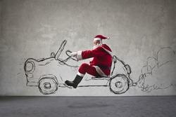 Santa Claus driving a car