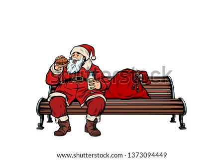 Santa Claus eats fast food Burger, Park bench. Pop art retro  illustration kitsch vintage