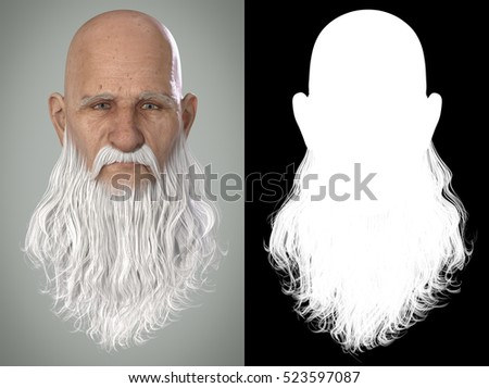Santa Claus Emotions : Stern 3D Render. Illustration with alpha map for easy editing and isolation.