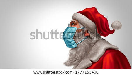 Santa Claus face mask concept as a Christmas holiday season symbol for health and disease prevention as medical equipment during a pandemic or epidemic with 3D illustration elements.
