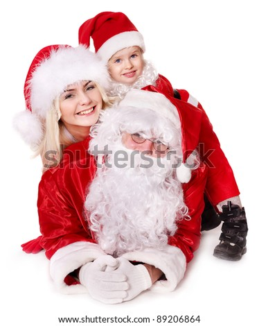 Santa claus family with child. Isolated.