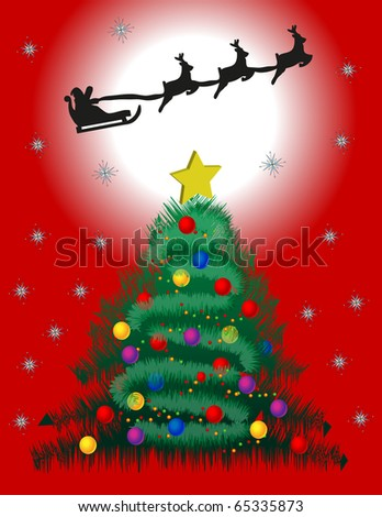 Santa Claus flying over a Christmas tree