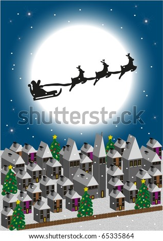 Santa Claus flying over a village