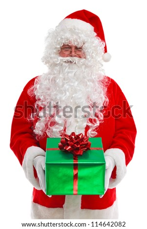 Santa Claus giving you a Christmas presents, isolated on a white background.