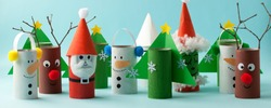 Santa claus, Grinch, Snowman from toilet tube roll for winter holiday decor. A terrible craft. School and kindergarten. Handcraft creative idea for Christmas new year, banner