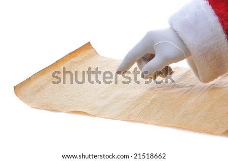 Santa Claus hand pointing at blank piece of old parchment paper