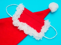 Santa Claus hat and protective mask, red and white, on a blue background